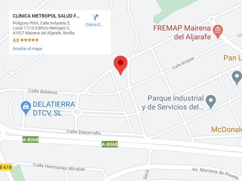 Mapa de ubicación de Metropol Salud, tu clínica de fisioterapia en Mairena del Aljarafe